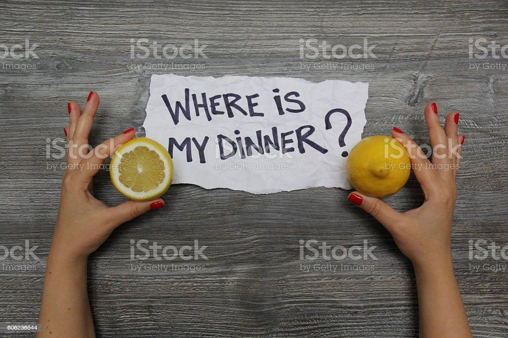 Where is my dinner? Half a lemon and whole lemon stock photo