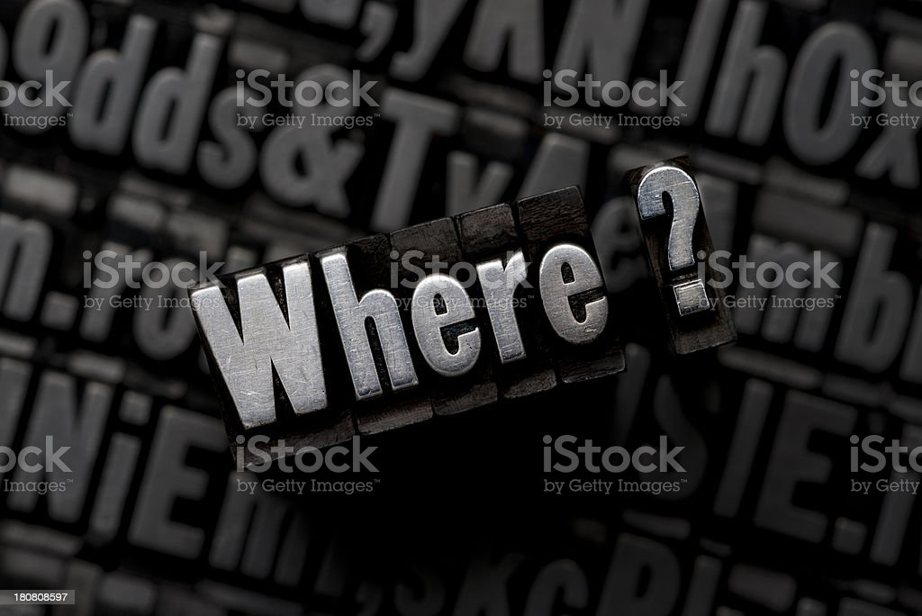 Where question - Metal Type royalty-free stock photo