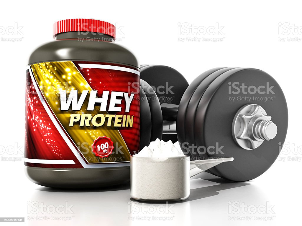 Whey protein container and fitness dumbbells stock photo