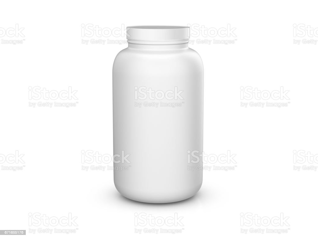 Whey protein container stock photo