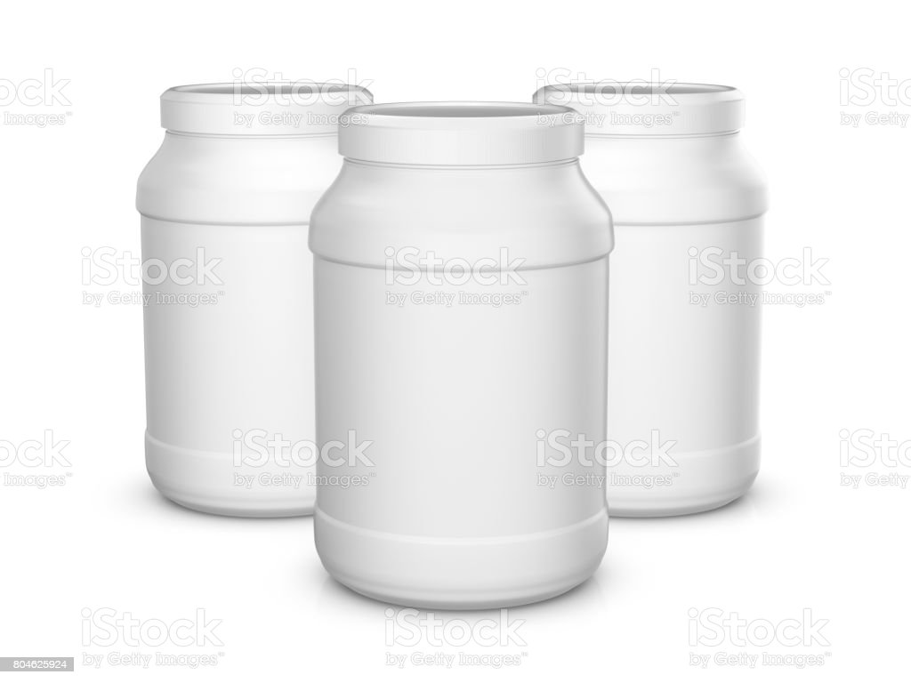 Whey protein containers stock photo