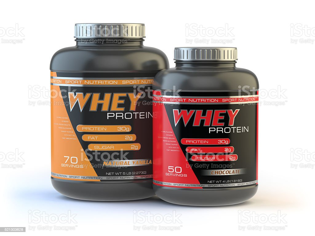 Whey protein isolated on white. Sports bodybuilding  supplements stock photo