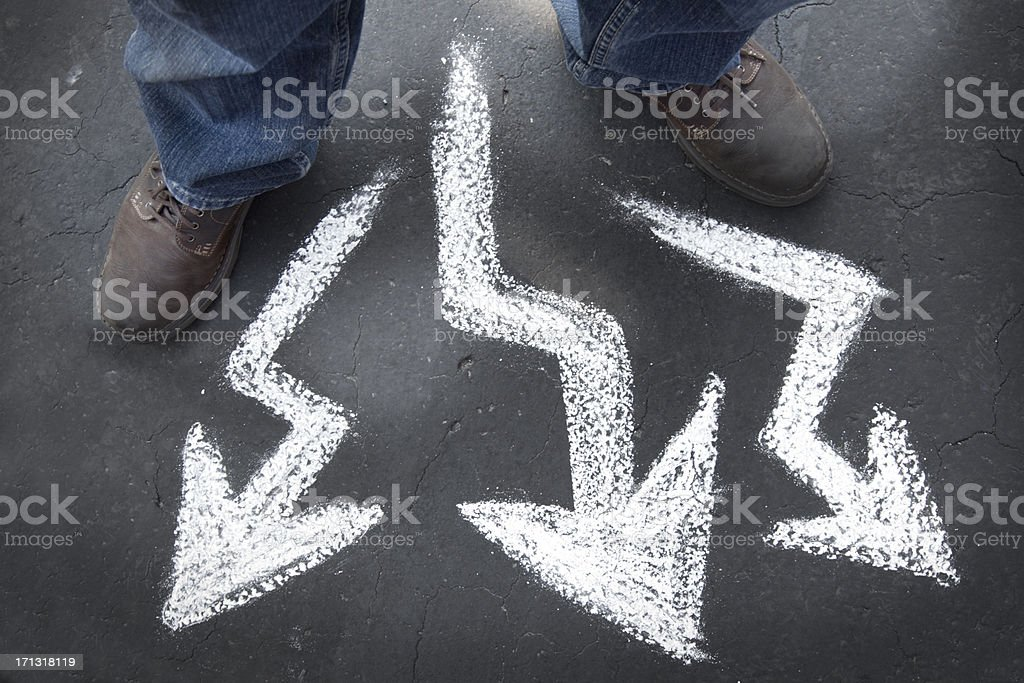 Which way to go - crooked paths and choice stock photo