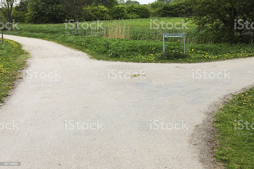 Which way to go? Crossroad fork in the park. royalty-free stock photo