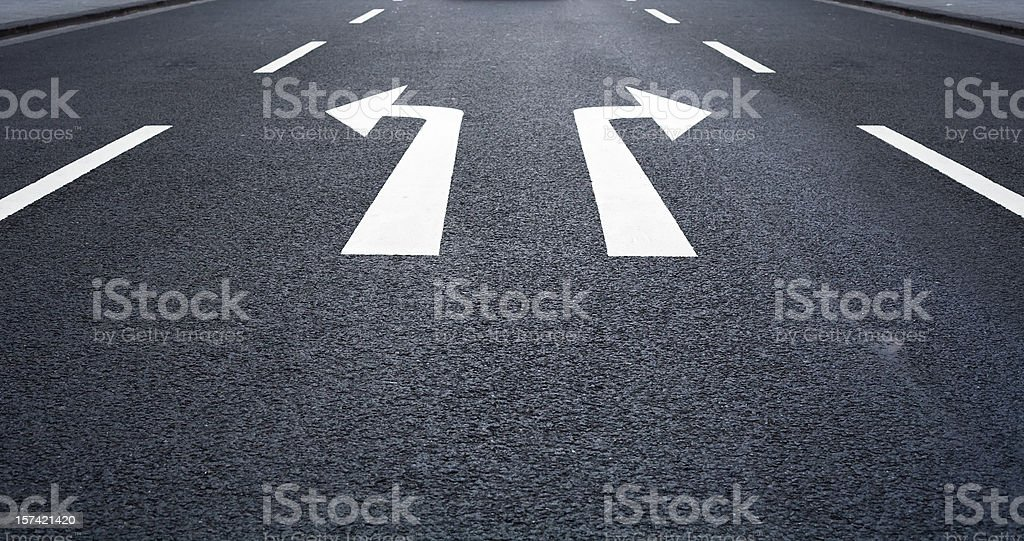 Which way to go -Road Marking, arrow signs stock photo