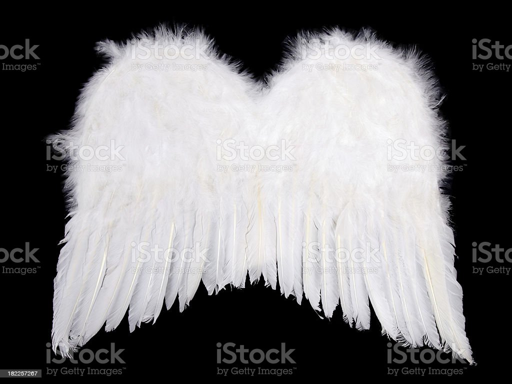 Whiite angel wings on black stock photo