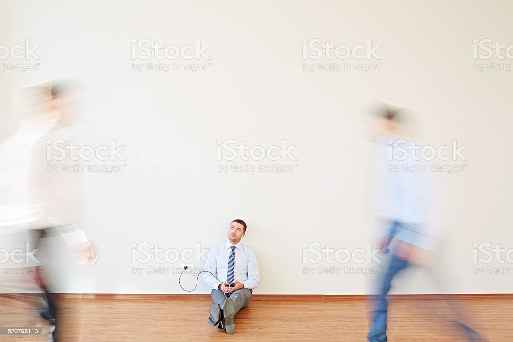 While business people in hurry stock photo