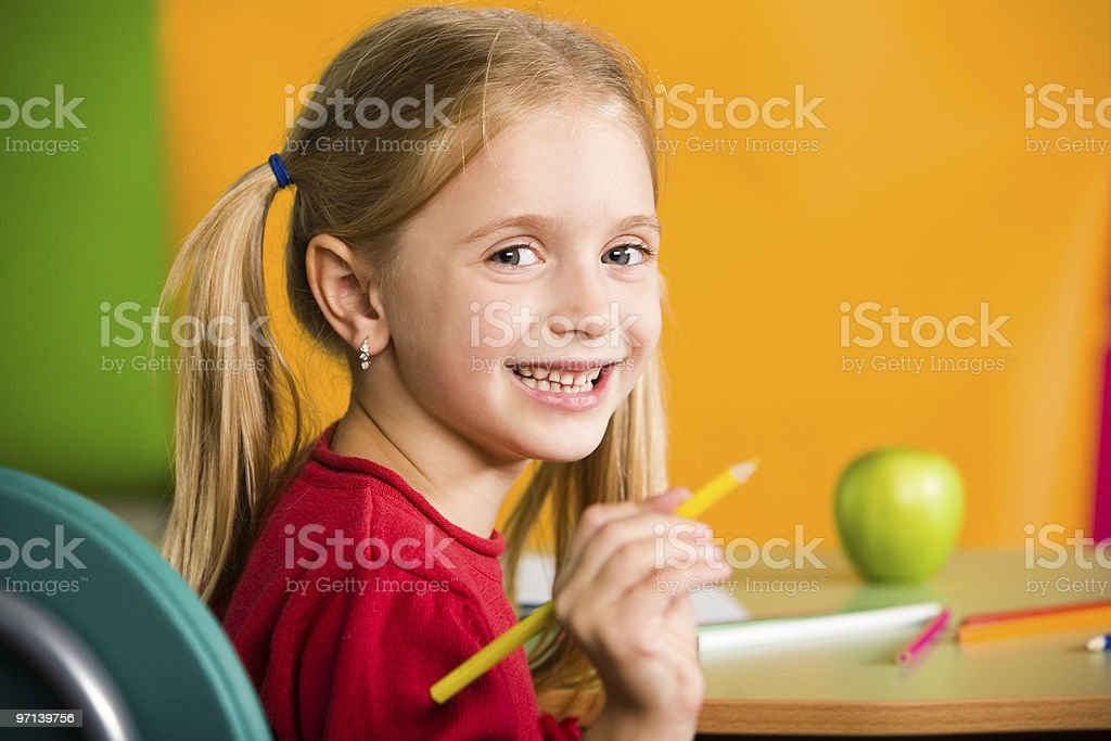 While drawing royalty-free stock photo