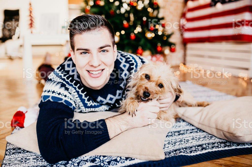 While expecting Christmas stock photo