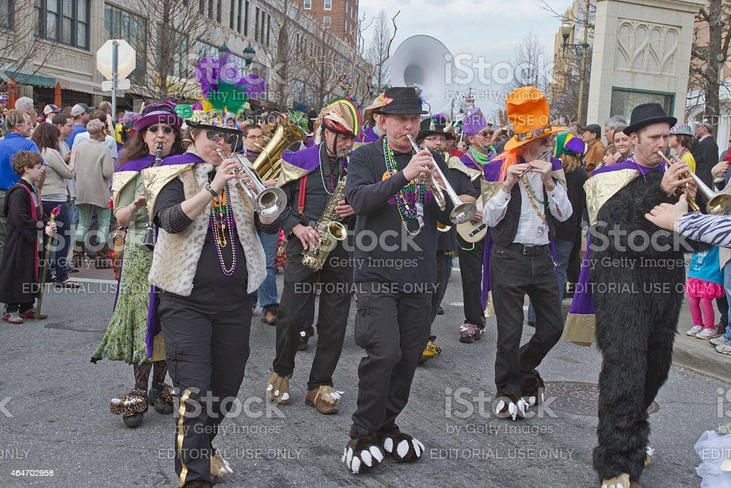 Whimsical Mardi Gras Parade Band stock photo