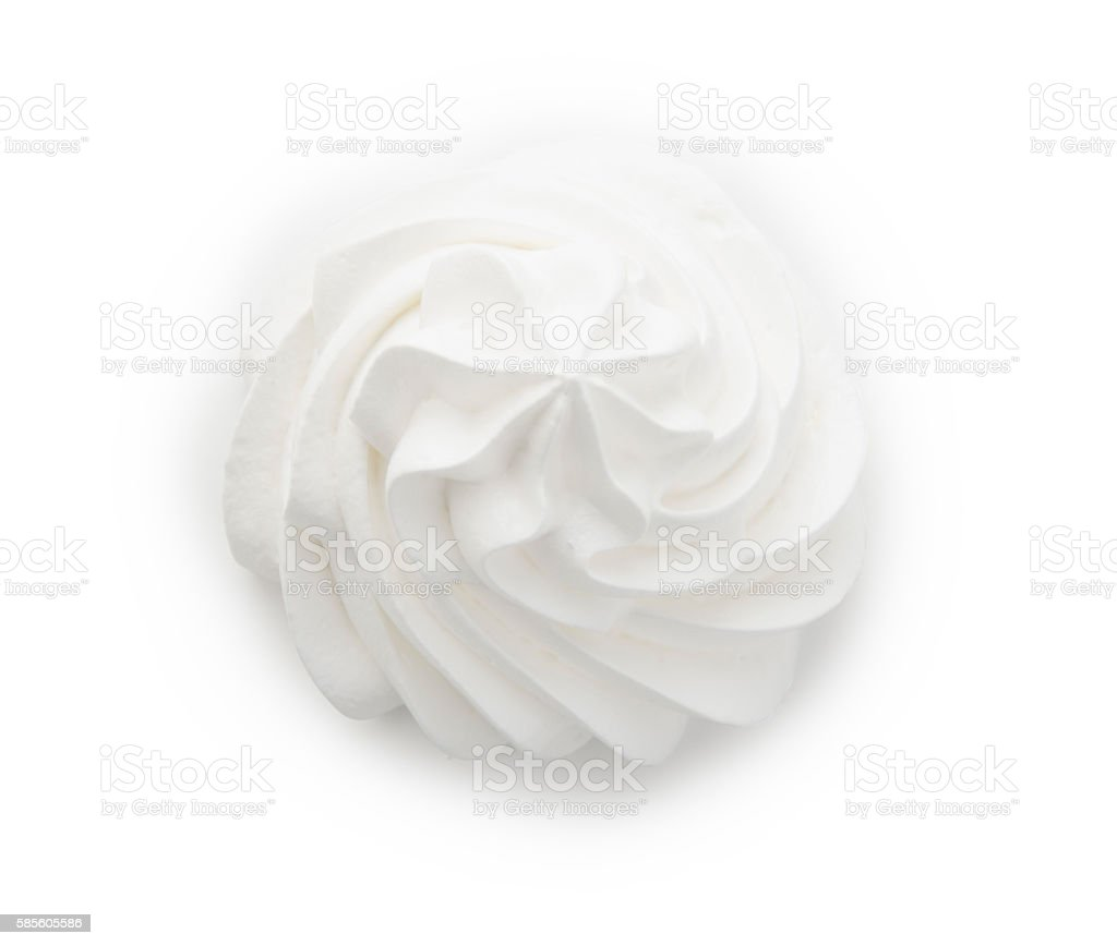 Whipped cream isolated on a white background with clipping path stock photo