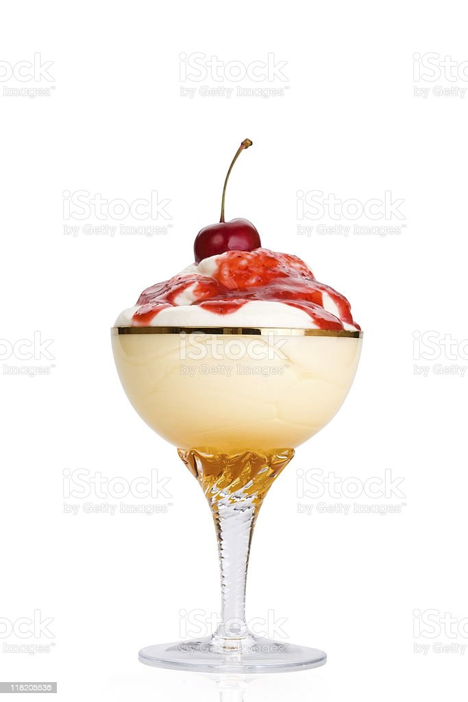 whipped cream with a strawberry jam stock photo