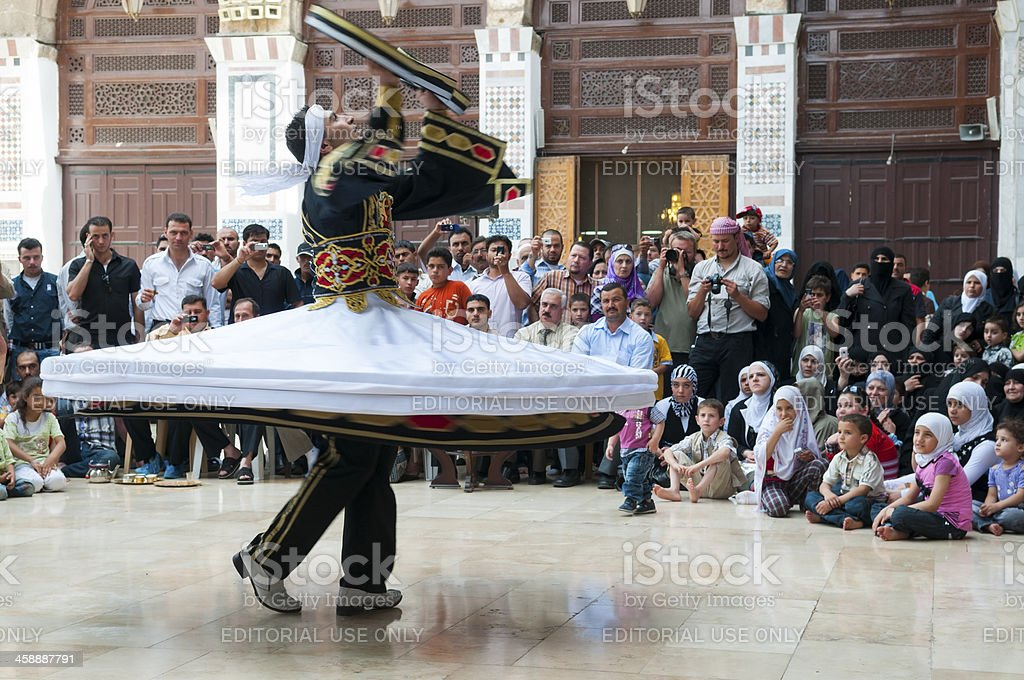 Whirling at Umayyad Mosque in Damascus, Syria royalty-free stock photo