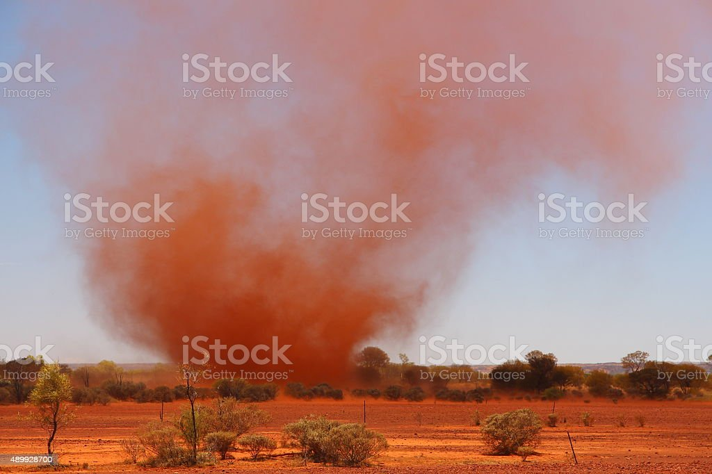 Whirlwind in Australian outback stock photo