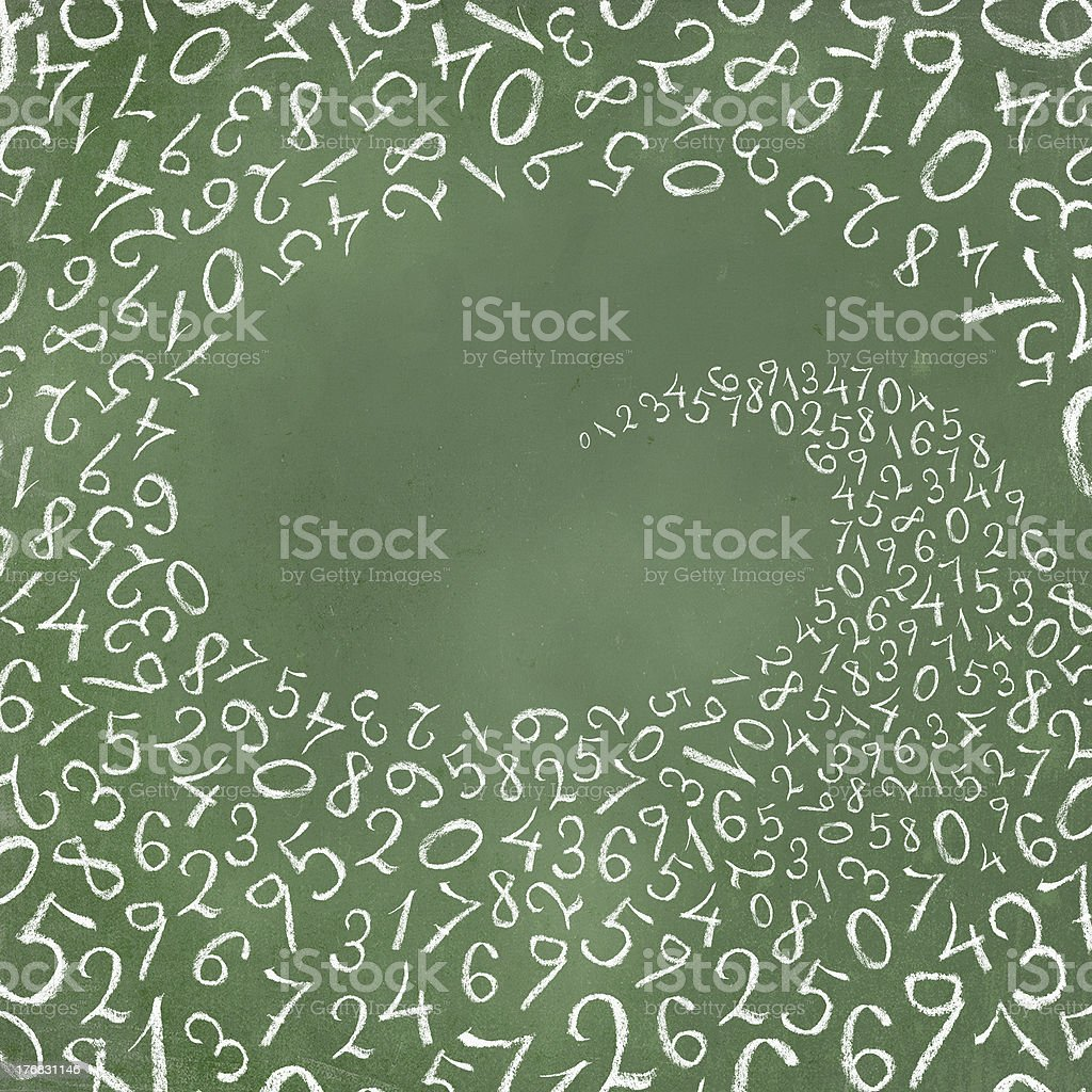 Whirlwind of the simplest figures on a chalkboard. royalty-free stock photo