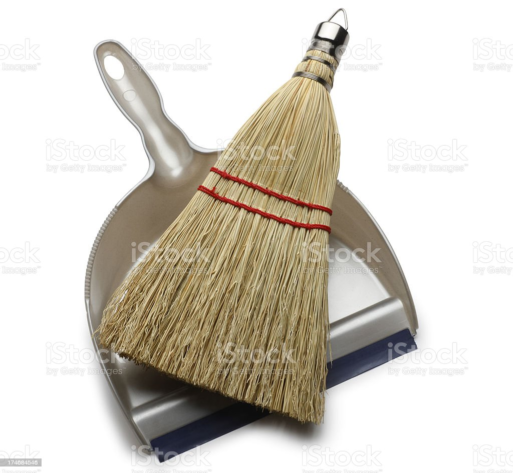 Whisk broom and dustpan on white background stock photo