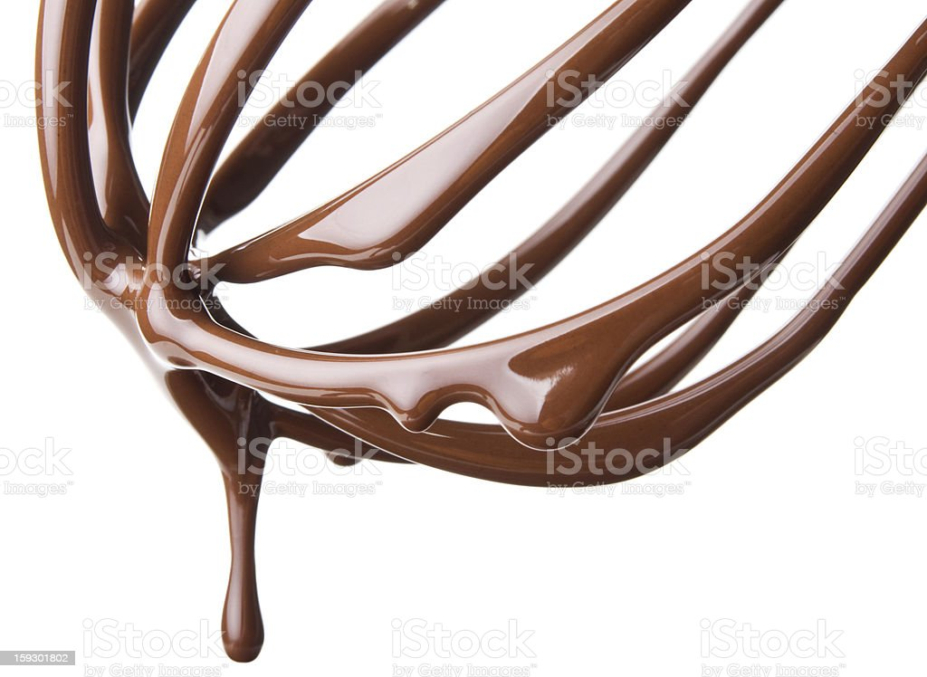 whisk with melted chocolate over white stock photo