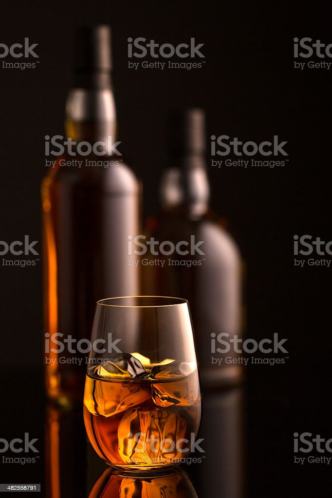 Whiskey and Bottles royalty-free stock photo