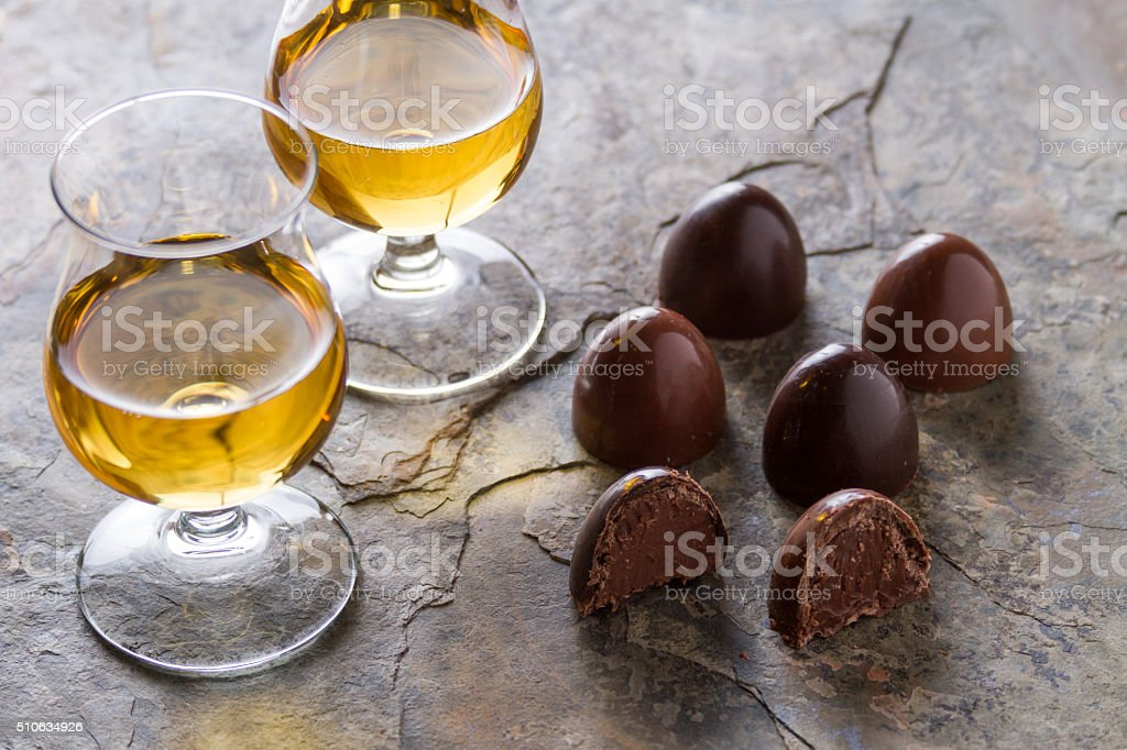 whiskey and chocolate stock photo