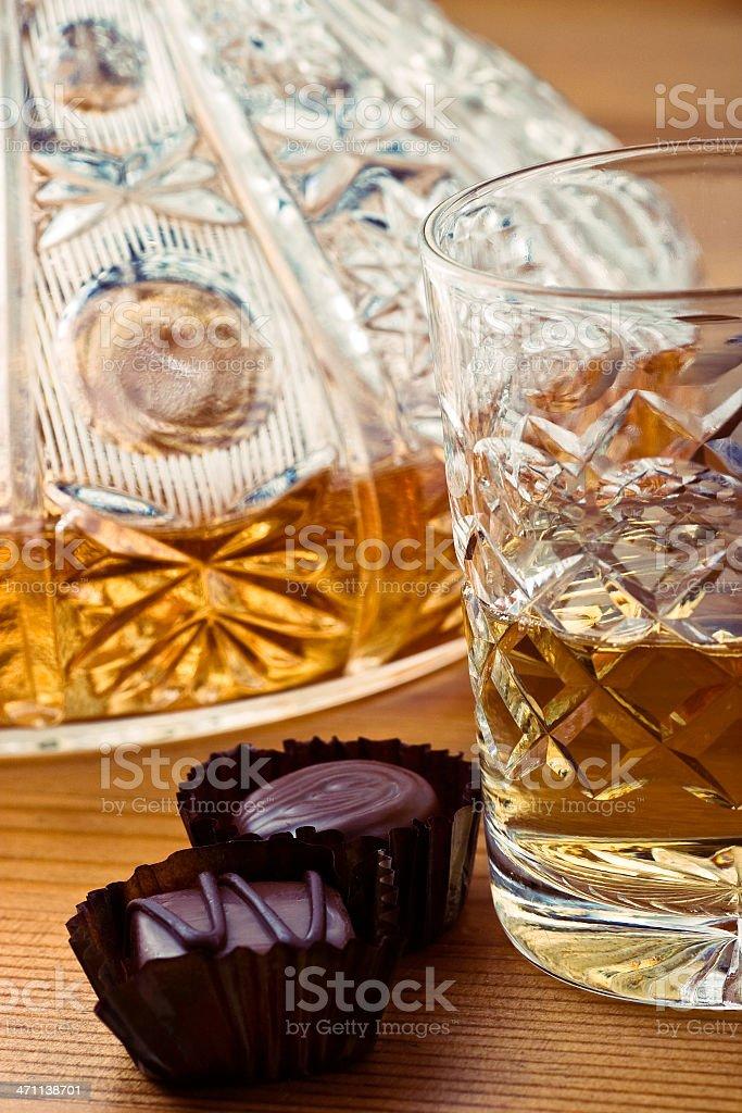 whiskey and chocolates royalty-free stock photo