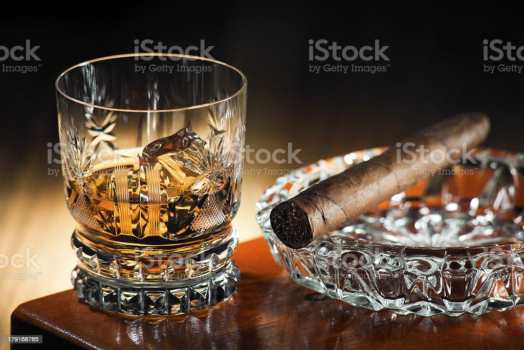 Whiskey and cigar royalty-free stock photo