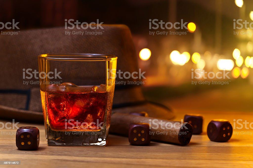 whiskey and dice stock photo