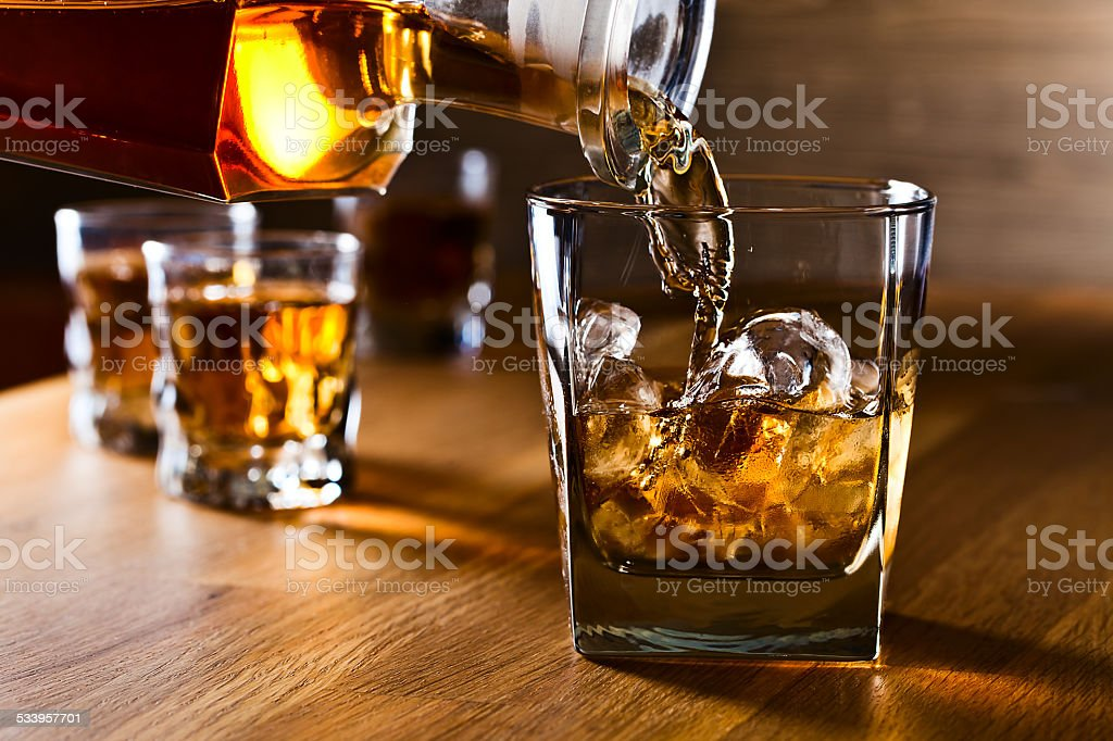 whiskey and natural ice stock photo