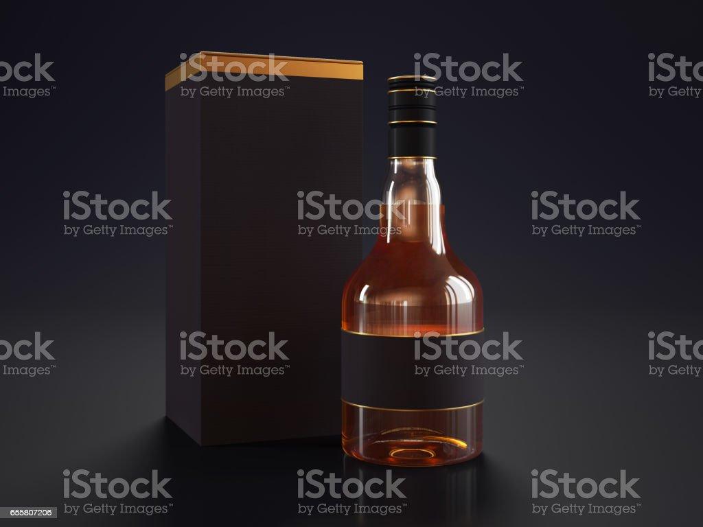 Whiskey Bottle on black background stock photo