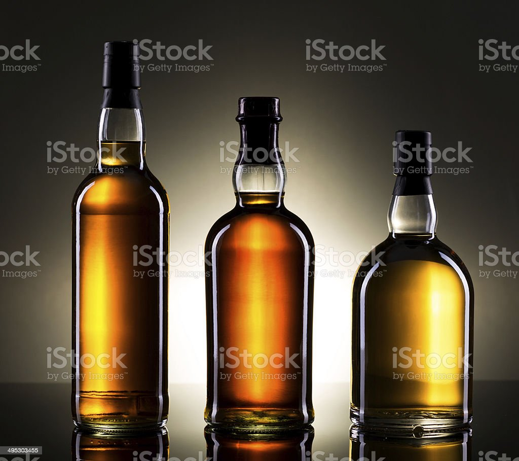 Whiskey Bottles stock photo
