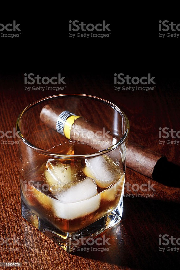 Whiskey & Cigar royalty-free stock photo
