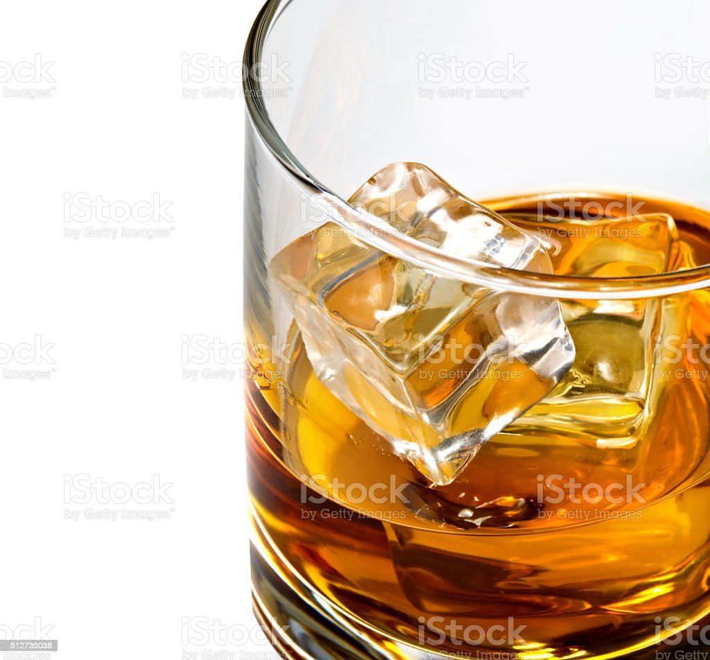 whiskey glass cliose up stock photo