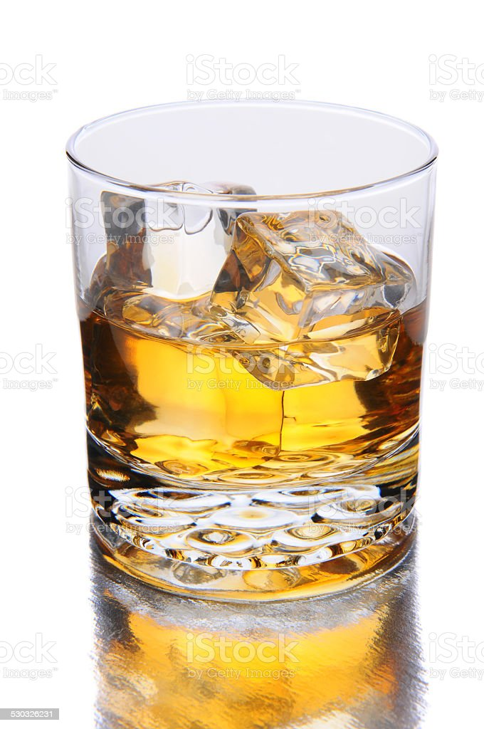Whiskey Glass with Reflection stock photo