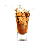 whiskey in a glass isolated
