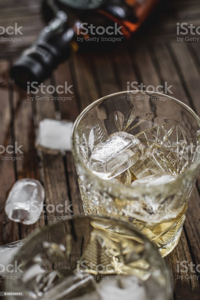Whiskey in a Glass With Ice Cubes stock photo