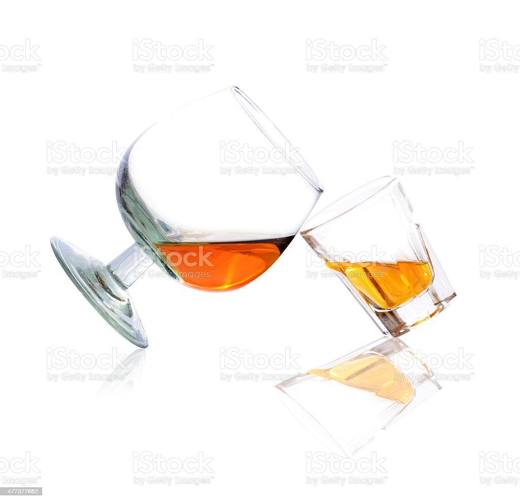 Whiskey in a shot glass and brandy stock photo