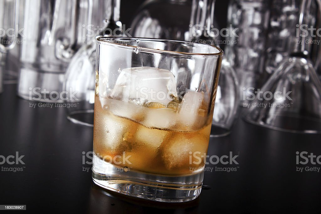 Whiskey on a bar counter stock photo
