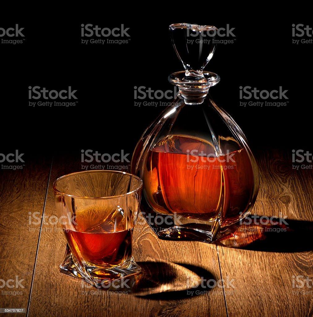 Whiskey on black stock photo