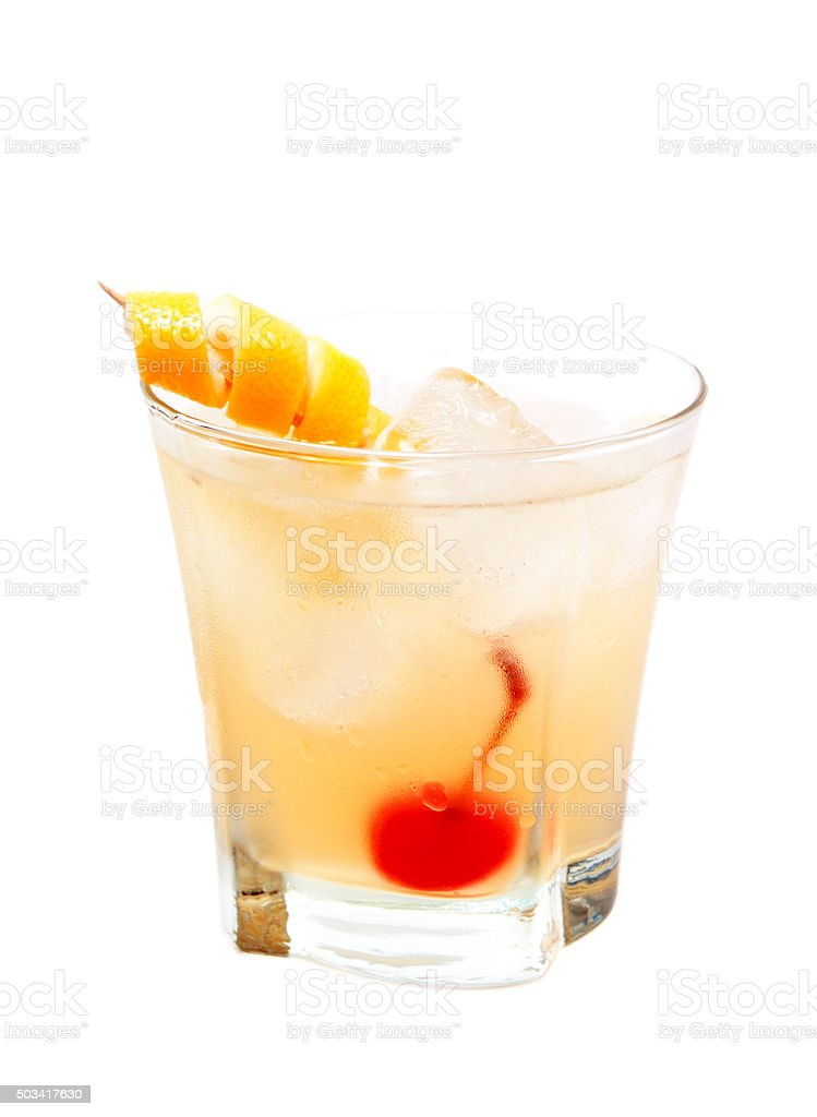 Whiskey Sour cocktail isolated on white background stock photo