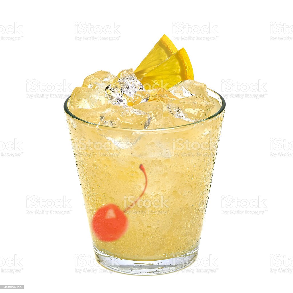 Whiskey sour cocktail stock photo