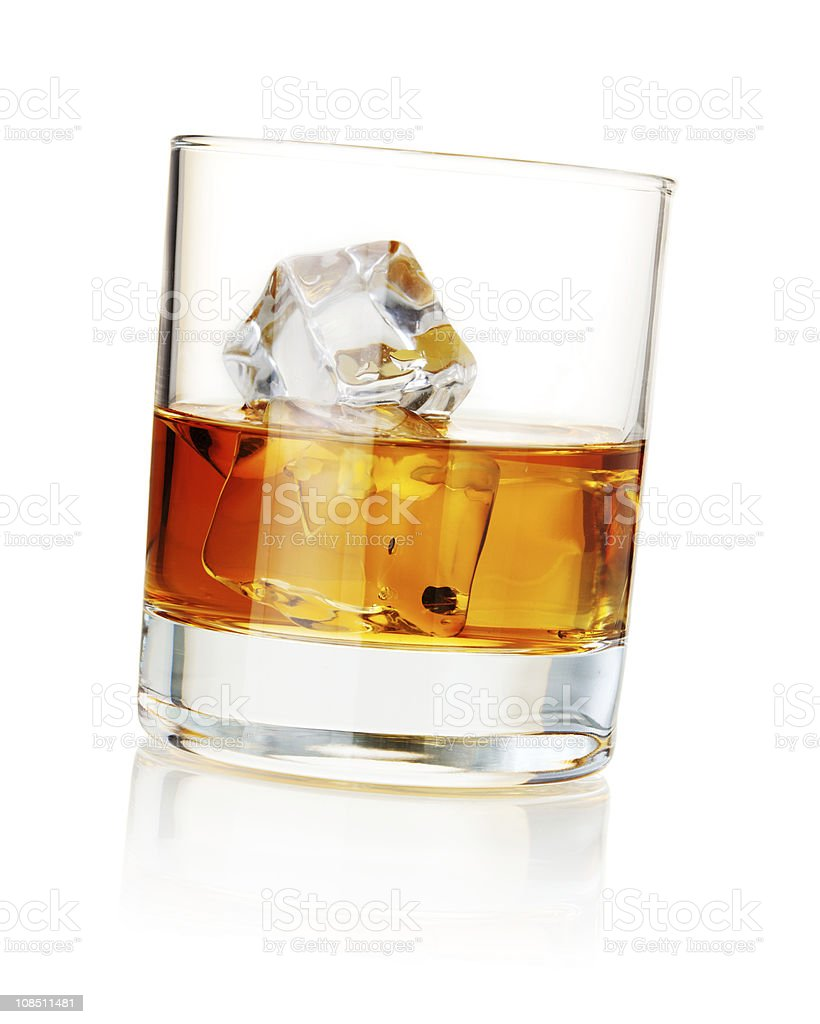 Whiskey with ice cubes royalty-free stock photo