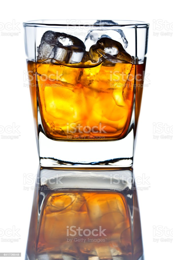 whiskey withl ice isolated on white background stock photo