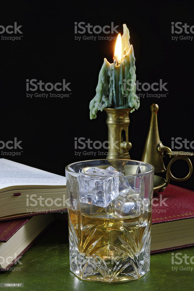 Whisky and Antique Candlestick royalty-free stock photo