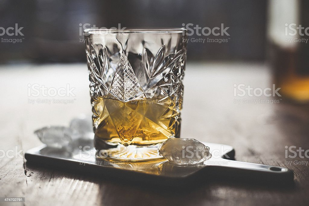 Whisky and ice stock photo