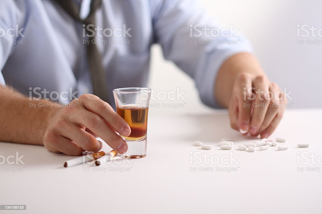 whisky and pills royalty-free stock photo