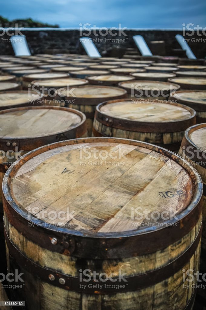 Whisky barrels - close up stock photo