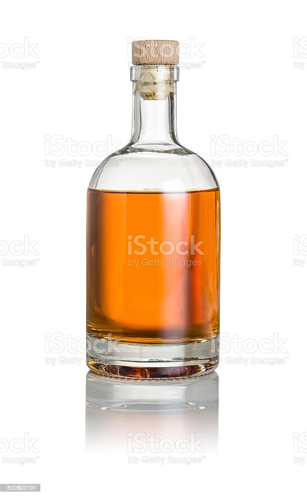 Whisky bottle on a white background stock photo