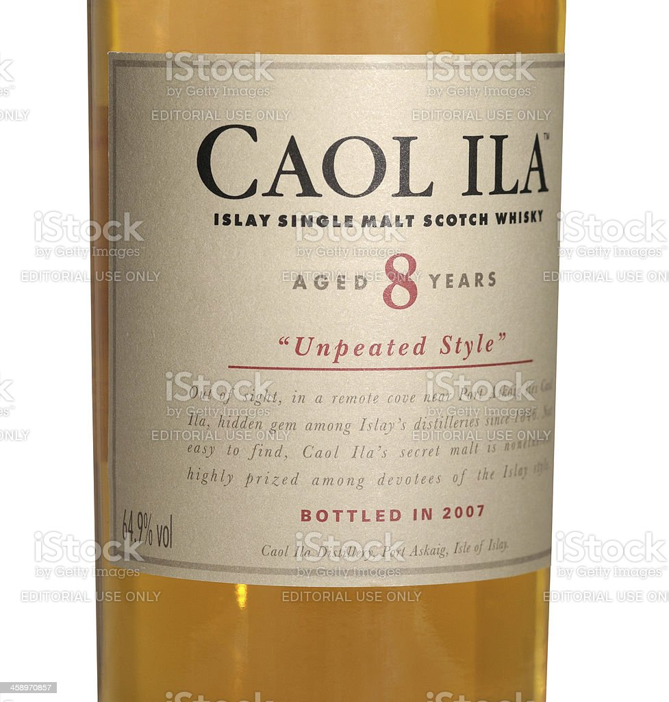 whisky Caol Ila 64,9 percent 130 proof stock photo
