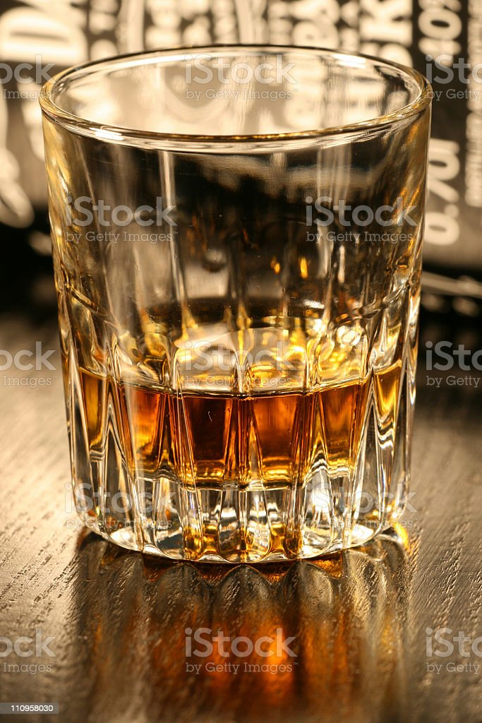 whisky glass and bottle royalty-free stock photo