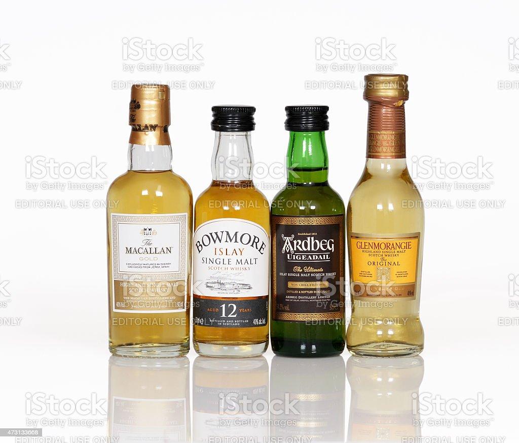 Whisky miniature bottle stock photo