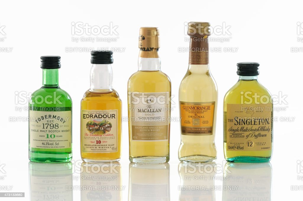 Whisky miniature bottle stock photo